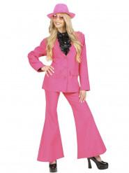 Costume classico giacca e pantaloni rosa per donna