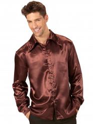 Camicia di raso marrone per uomo