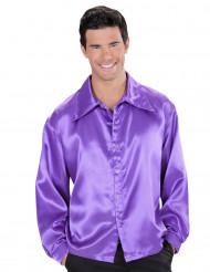 Camicia satinata viola uomo
