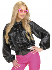 Camicia nera con volant donna
