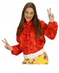 Camicia rossa con volant donna