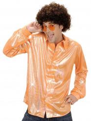 Camicia disco olografica arancione per uomo