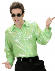 Camicia disco olografica verde per uomo