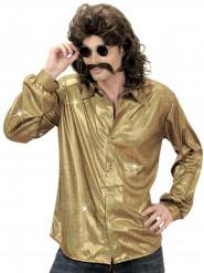 Camicia disco olografica dorata per uomo