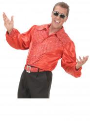 Camicia disco olografica rossa per uomo