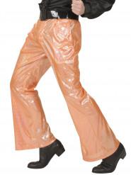 Pantalone disco olografico arancione uomo