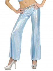 Pantalone disco olografico turchese donna