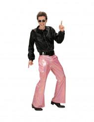 Pantaloni disco con paillettes rosa per uomo