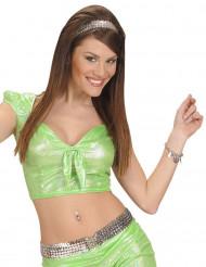 Top verde lucido con fiocco per adulto