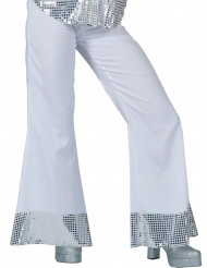 Pantaloni disco bianchi con risvolti paillettati per donna