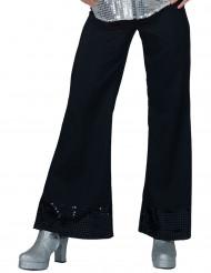 Pantaloni disco neri con risvolti paillettati per donna