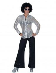 Camicia disco argento con paillettes donna