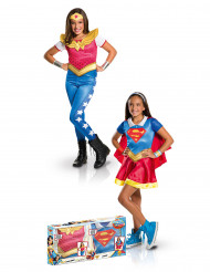 Cofanetto costume Supergirl™ e Wonder Woman™ bambina