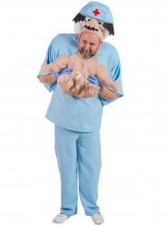 Travestimento dottore con neonato