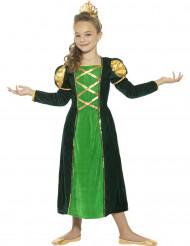 Costume da regina medievale verde per bambina