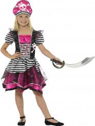 Costume da bel pirata rosa per bambina