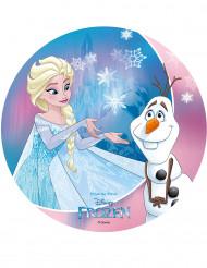 Disco di zucchero Frozen™ Olaf ed Elsa