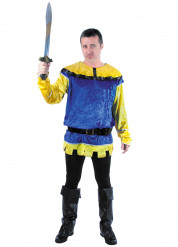 Costume da cavaliere medievale giallo e blu per uomo