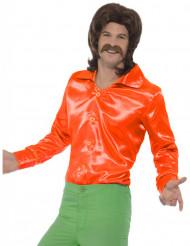 Camicia satinata arancione uomo