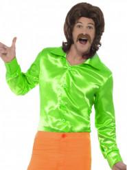 Camicia satinata verde per uomo