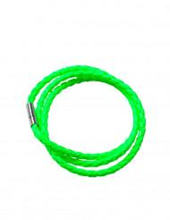 Braccialetto intrecciato verde acido per adulto
