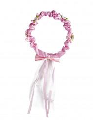 Corona floreale rosa con fiocco bambina