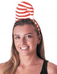Cerchietto con berretto a righe candy
