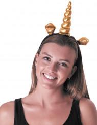 Cerchietto da unicorno dorato con orecchie per adulto