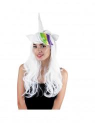 Parrucca bianca da unicorno con orecchie per donna