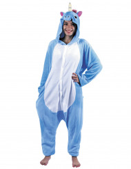 Costume tuta integrale da unicorno azzurro per adulto