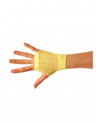 Mezzi guanti a rete giallo fluo per adulto
