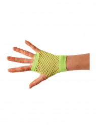 Mezzi guanti a rete verde acido per adulto