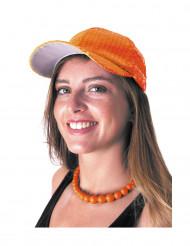 Cappellino arancione con lustrini per adulto