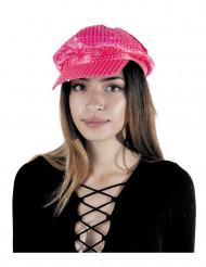 Cappello disco con paillettes fucsia per adulto