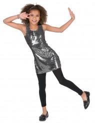 Costume disco nero con paillettes argentate per bambina