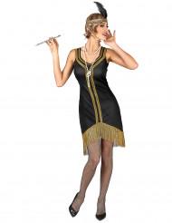 Costume Charleston nero e oro a frange donna