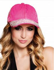 Cappellino con lustrini e perline argentate