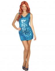 Costume vestito disco sexy blu donna