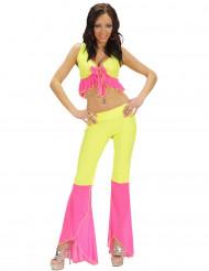 Costume disco sexy giallo e rosa per donna