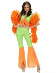 Costume disco sexy verde e arancione per donna