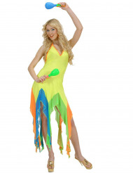 Costume da ballerina brasiliana giallo acido per donna