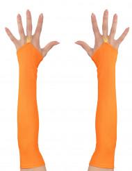 Mezzi guanti e rete lunghi arancioni per adulto
