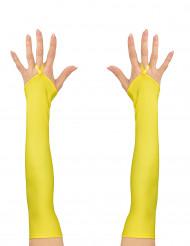 Mezzi guanti e rete lunghi gialli per adulto
