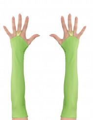 Mezzi guanti verdi lunghi per adulto