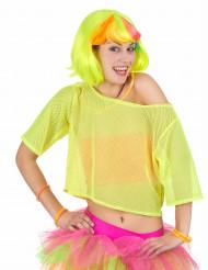 Maglietta gialla trasparente a rete