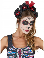 Cerchietto a fiori nero e rosso Dia De Los Muertos Adulto