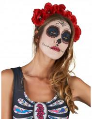 Cerchietto fiori rossi Dia de Los Muertos adulto