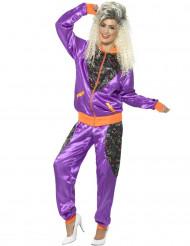 Costume tuta da ginnastica Anni'80 viola e arancione per donna