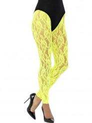 Legging in pizzo giallo flu donna