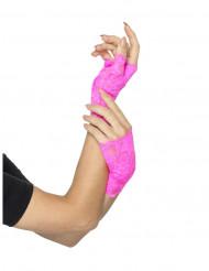 Mezzi guanti rosa fluo per donna